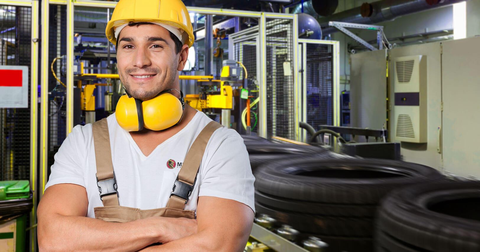 Worker in Tire Factory